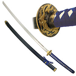 Blue Long Handle Traditional Katana 45 1/2""