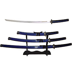 Blue Samurai 3 piece Sword Set