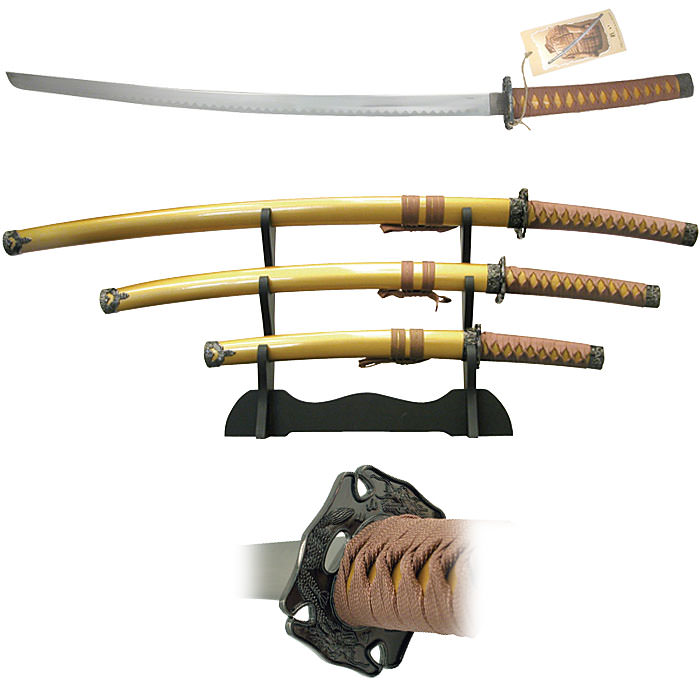Gold Samura 3 pc Sword Set and stand 39""