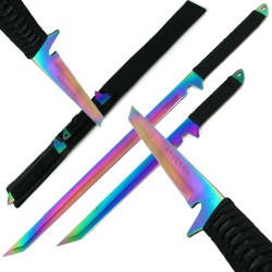 Dual Rainbow Blade Full Tang Ninja Swords w/ Sheath 27 3/4""