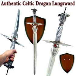 Celtic Dragon Longsword w/ Plaque Stainless 42""
