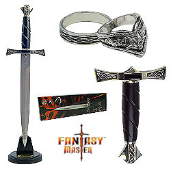 Shadow Ring Dagger w/ Display Stand &amp; 2 Rings - 15&quot;