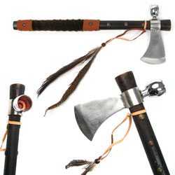 Tomahawk Peace Pipe - with Wood Handle 19&quot;