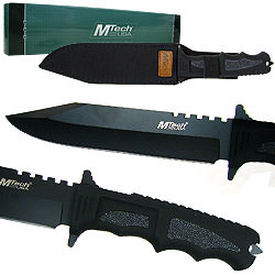 Covenant Covert Black Blade Survival Knife w/sheath 12""