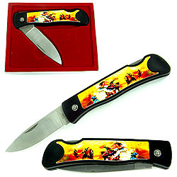 Collector's Series Folding Pocket Knife - Native American Indian Heritage 5 3/4""