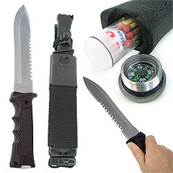 Heavy Duty Survival Knife w/ Plastic Molded Sheath 14""