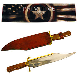Brass Wood Stainless Steel Primitive Bowie 18""