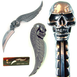 Skull Wing Design Folder Pocket Knife 7""