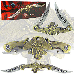 Dual Blade Stainless Steel Pirate Folder 9 1/2""