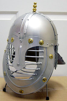 Medieval Barred Helmet with Stand
