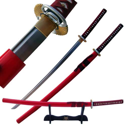Blood Groove Harachi Mimo Hand Made Katana Red 41""