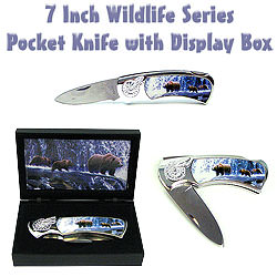 Wildlife Series Pocket Knife w/ Display Box - Bear 7""
