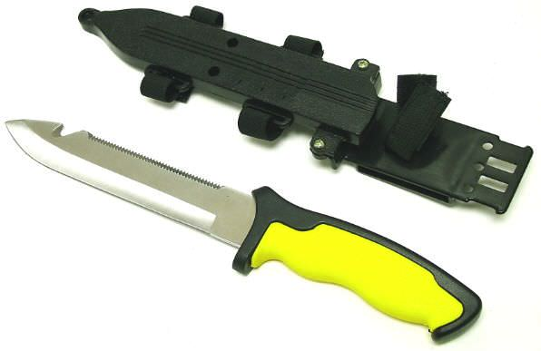 SCUBA Knife YELLOW 11 3/4""