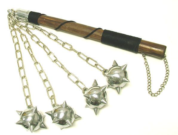 Quad Ball Medieval Spiked Mace 4 balled 32""