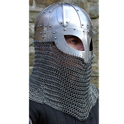 Viking Helmet Battle Armor 18G Steel and Chainmail