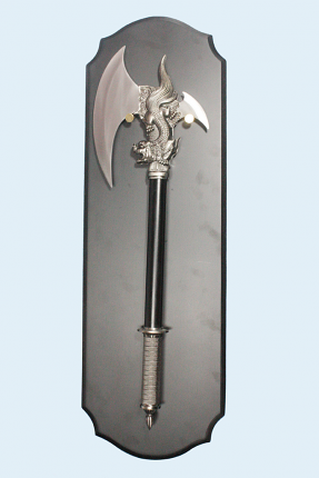 Qi Lin Axe with Dagger and Plaque 24""