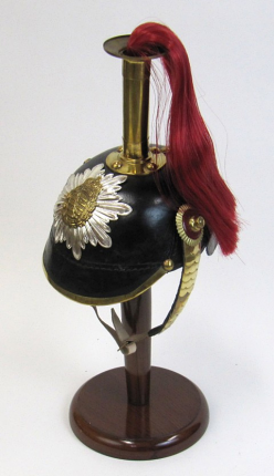 Leather German Helmet with Picklehaube Spike and Red Hair