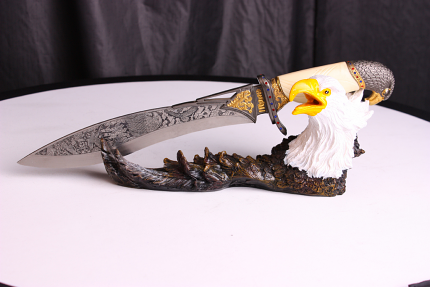 Bald Eagle Dagger with Stand 17""