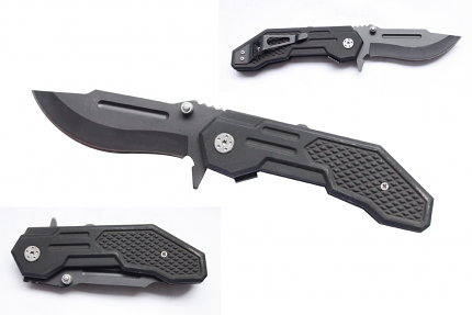 """Spring Loaded Folding Knife with Full Handle - Black 8 1/2"""""""