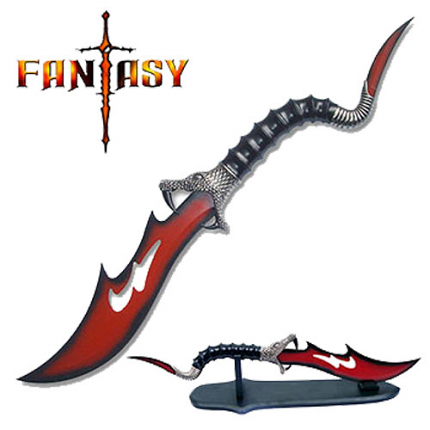 Red blade Cobra Dagger and Stand 21""