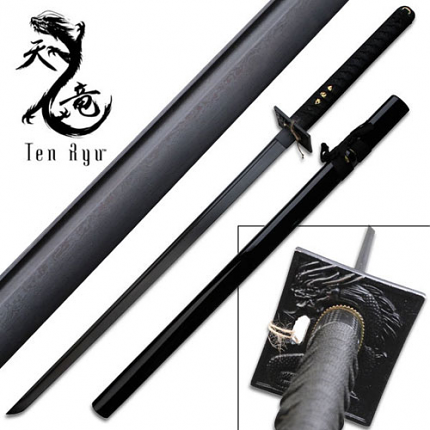Ten Ryu Knight Black Cord Damascus Ninja Katana Sword 40""
