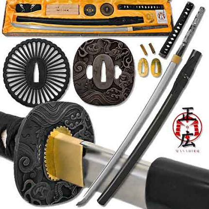 Build a Katana - Battle Ready Full Tang Sword Assembly Kit- Black 39 1/2""