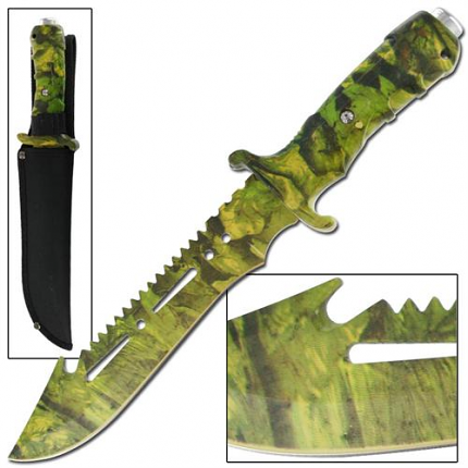 Ultimate Camo Extractor Bowie Survival Jungle Knife 12 1/4""