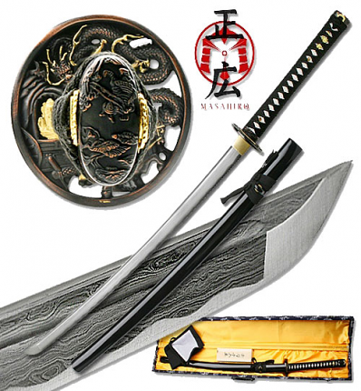 Masahiro - Folded Steel Samurai Sword - 1000+ Layers - Dragon 40""