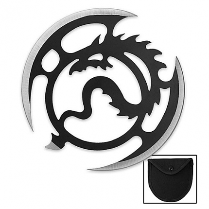 Ninja Throwing Disk with Flying Dragon Design 3 3/4""