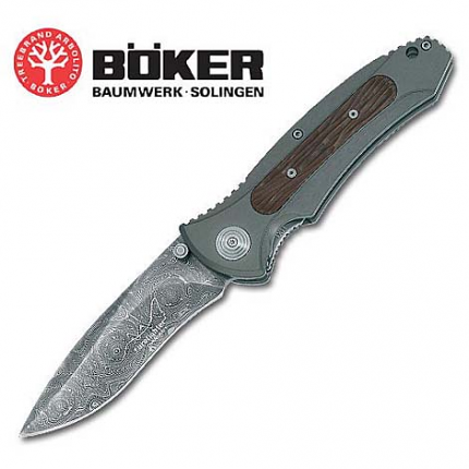 Boker Eurofighter Damascus Folding Knife 9""