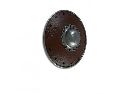 """Leather Covered Buckler with Scalloped Boss 15"""""""