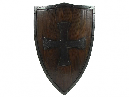 Templar Crusader Shield Wood and Metal 27 1/2""