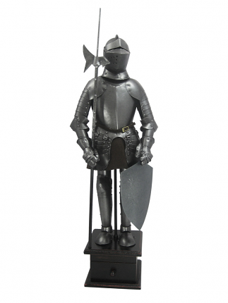 Hand Crafted Suit of Armor & Base with Drawer 18 1/2""