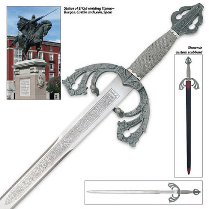 Tizona Del Cid Sword & Sheath 40""