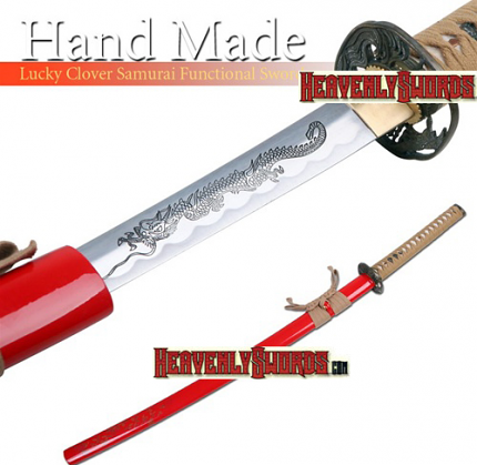 Hand Made Lucky Clover Battle Ready Samurai Katana Sword 39""