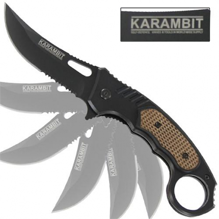 Karambit Combat Serrated Spring Assisted Knife 8""
