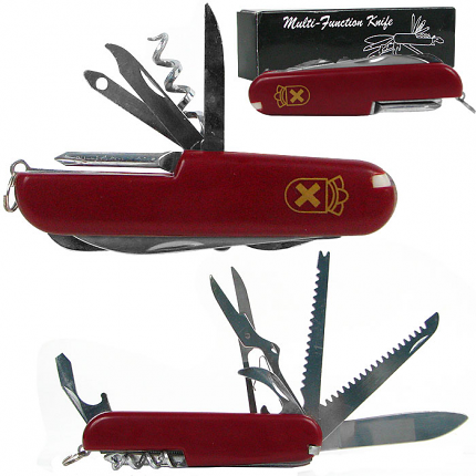 WhetstoneT Red 13 Function Swiss Type Army Knife - 3.5 Inche