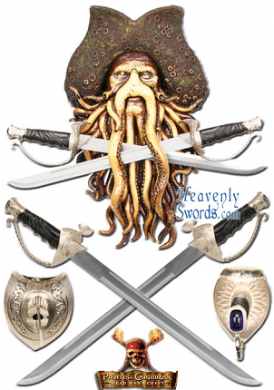 Davy Jones Pirates of the Caribbean Wall Plaque with Swords