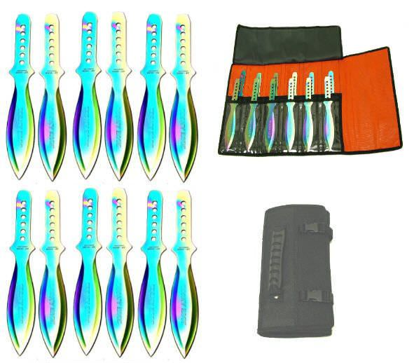 12 Pc Set Fancy Throwing Knives A1088-12