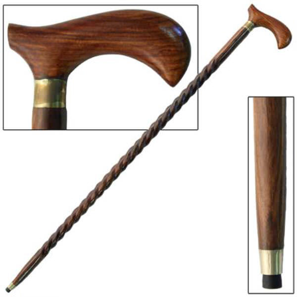 37 in Hand Carved Fancy Hardwood Walking Cane IN10105