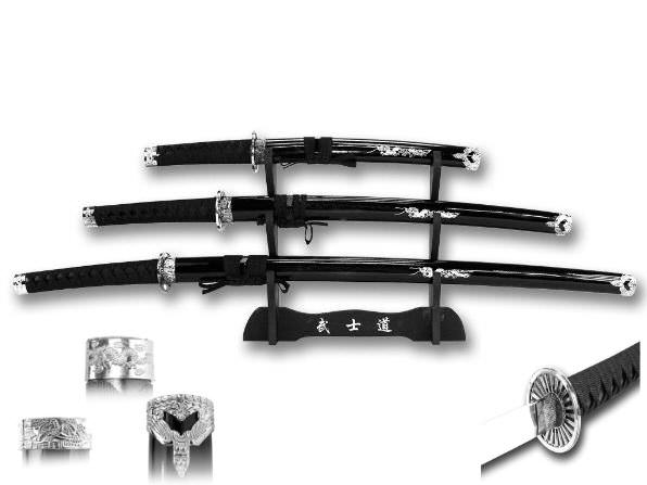 3pc Set Dragon Samurai Sword Set C29152BK4DR