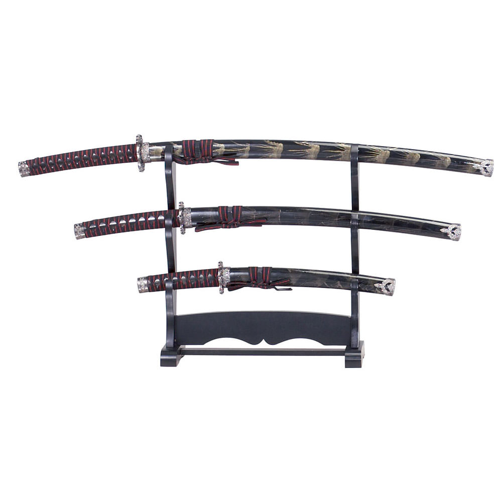 3pcs Samurai Sword Set Black & Gold