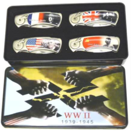 4pc World War II Pocket Knife Set PK2020WW2T4