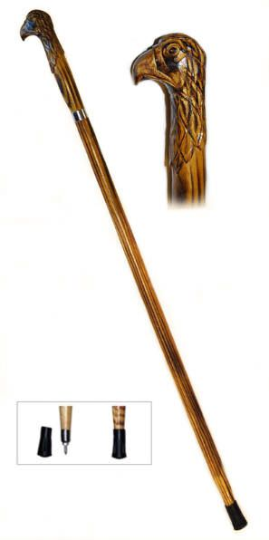 60in Eagle Wooden Walking Stick WS633-60E