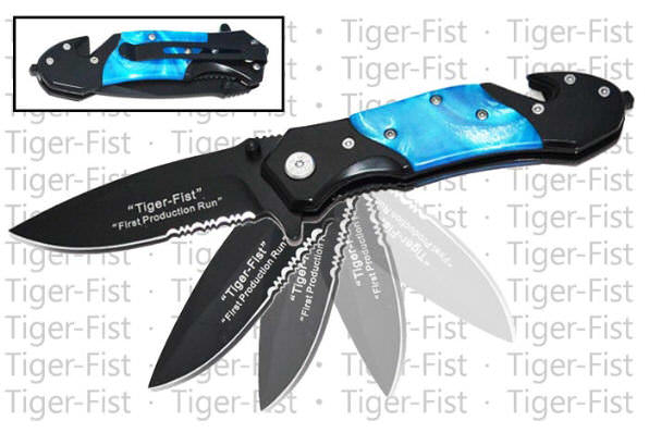AO Blue Pearl Tiger Fist Rescue Knife RS911D