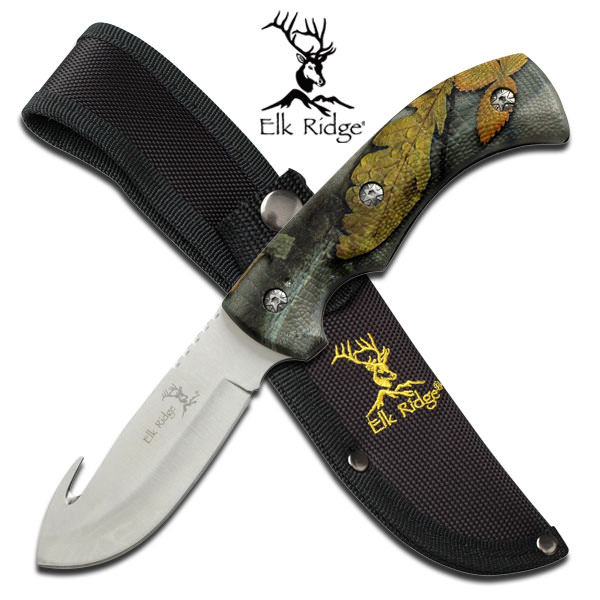 Elk Ridge Fall Camo Gut Hook Hunting Knife ER274FC