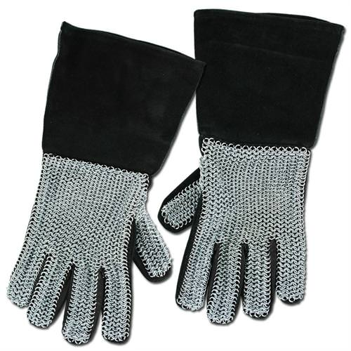 Deluxe Leather Suede Gloves: Medieval Suede Chainmail Gloves