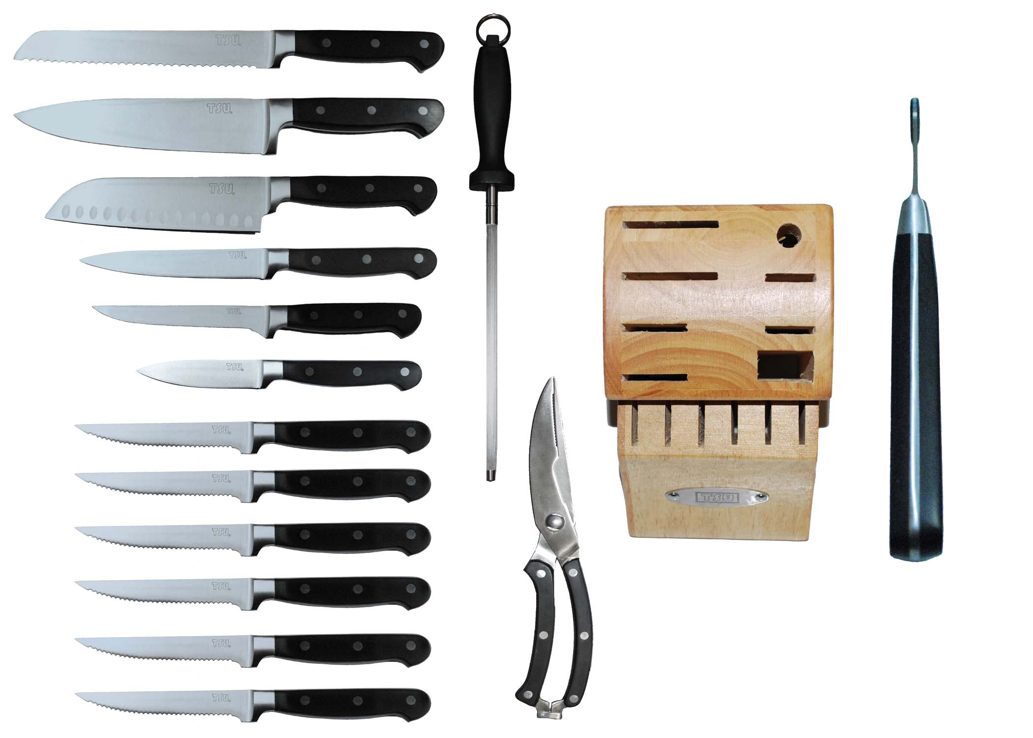 tsu 15 piece kitchen knife set with block heavenly swords