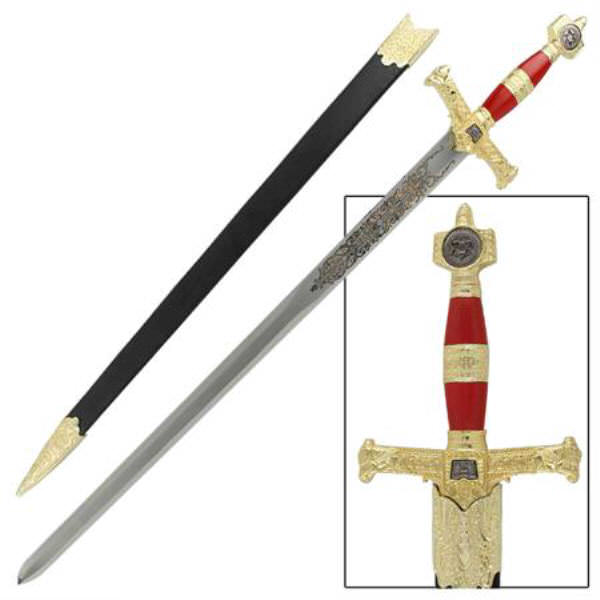 King Solomon Sword with Sheath - Red