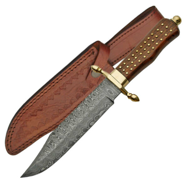 Real DAMSCUS Steel Bowie Hunting Knife DM1058